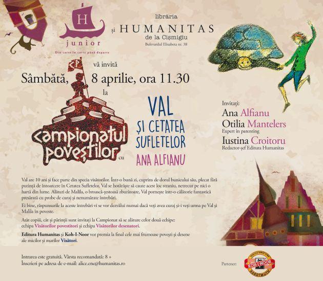 Campionatul povestilor - Val si Cetatea Sufletelor - sambata, 8 aprilie la Libraria Humanitas Cismigiu