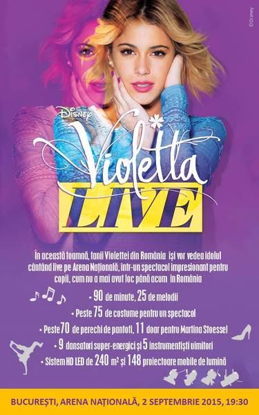 Concert: Violetta live la Arena Nationala din Bucuresti, pe 2 septembrie 2015