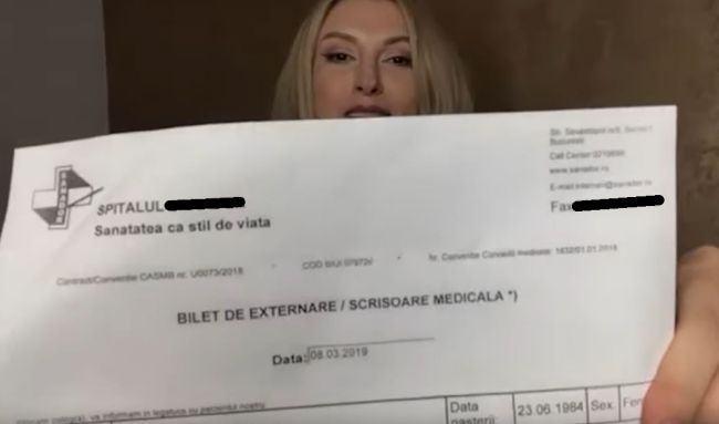 Ce scrie in biletul de externare al Andreei Balan, dupa nasterea cu probleme