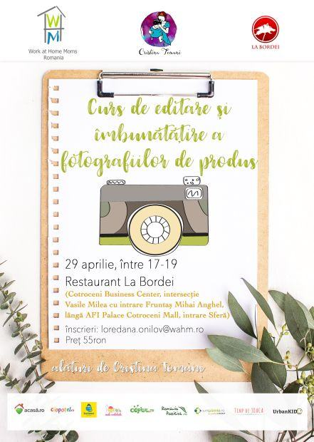 Curs de editare foto si imbunatatire a fotografiilor de produs, eveniment marca Work at Home Moms