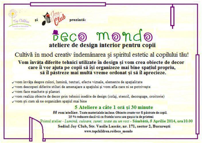 Deco Mondo - ateliere de design interior pentru copii!