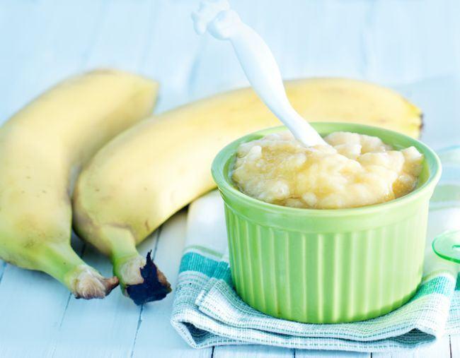 Piure de banane cu orez si iaurt