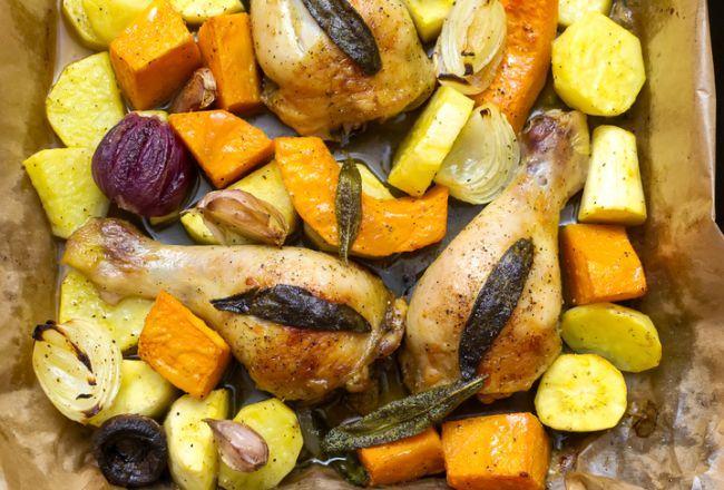 Pui cu legume la tava