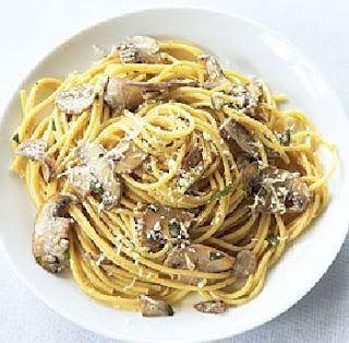 Spaghete cu pui si ciuperci