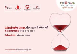 Caravana Daruieste timp, doneaza sange  vine din nou in Sun Plaza, pe 09, 10 si 11 Octombrie!