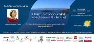 Aleth Naquet in Romania. Conferinta si workshop: Comunic deci exist! Afla cheia relatiilor fericite