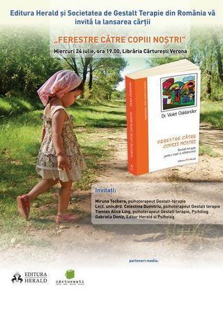 Ferestre Catre Copiii Nostri, lansare carte, miercuri 24 iulie