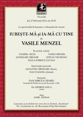 Maestrul Vasile Menzel cucereste din nou Citadela Poeziei