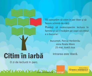 Duminica avem program: Citim in iarba, in Herastrau