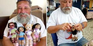 Gest superb: Un bunic cu Vitiligo face papusi pentru copiii care sufera de aceeasi boala