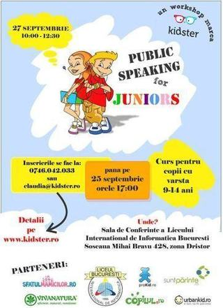 "Workshop ""Public Speaking for Juniors"", 27 septembrie"