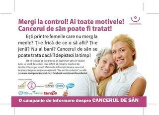 Mergi la control! Ai toate motivele! Cancerul de san poate fi tratat!