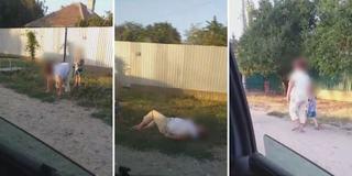 Video. Imagini scandaloase in Calarasi. O mama beata cade in sant, cu copilul de mana