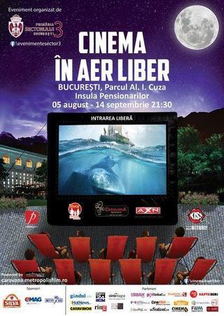 Cinema in aer liber, din 3 august in Parcul Alexandru Ioan Cuza