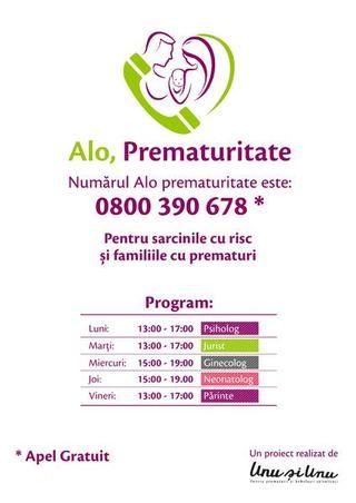 Alo Prematuritate - 0800 390 678 - prima linie gratuita din Romania pentru preventie si suport in prematuritate