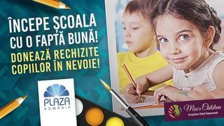 Colectare de rechizite pentru copiii din familii defavorizate la Plaza Romania