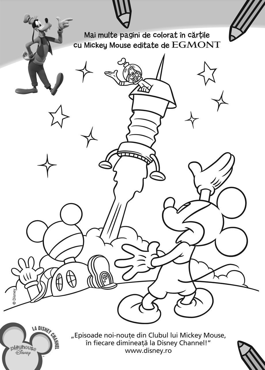 Plansa Mickey Racheta Planse De Colorat Disney Copilulro
