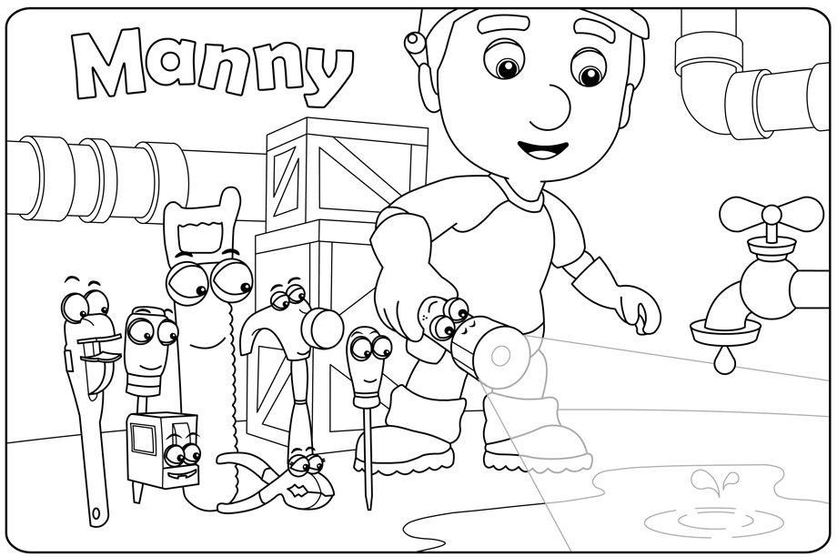 Plansa Handy Manny 3 Planse De Colorat Disney Copilulro